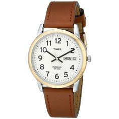 Timex Easy Reader Brown Leather Watch #T20011 Watches (€41) ❤ liked on Polyvore featuring jewelry, watches, polish jewelry, brown leather wrist watch, leather watches, brown wrist watch and buckle watches