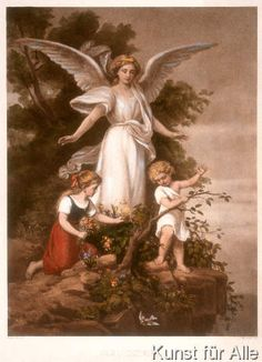 G Richter: Guardian Angel. , Canvas on Stretcher, Framed Picture, Glass Print and Wall Paper. Guardian Angel Pictures, Guardian Angels, Angels Among Us, Angels And Demons, Illustration Mode, Illustrations, Angel Protector, Raphael Angel, Angel Drawing