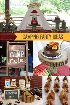 Need s'more ideas for a boy's camping themed birthday party? A lantern cake, a trail mix station, outdoorsy decorations and amazing party favors will inspire you!