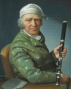 The flutist, flute maker and composer Johann George Tromlitz, 1803 by Daniel Caffé (German even relaxing in his cap and beautiful patterned robe. Ap Euro, Wooden Flute, Early Music, Blues Music, Baroque, Model, Dinosaurs, Ethnic, Career