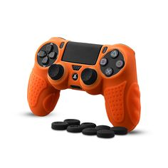 CHINFAI Controller DualShock 4 Skin Grip Anti-Slip Silicone Cover Protector Case for Sony Pro Controller with 8 Thumb Grips (Orange), Ps4 Controller, Cell Phone Accessories, Sony, Cover, Business Flyer, Buttons, Orange, Nice, Products