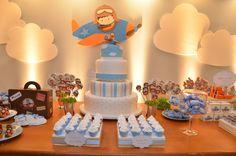 Meninas da Tetto: 1 ano do Aviador Davi Planes Birthday, Planes Party, Baby Boy Birthday, Baby Party, Baby Shower Parties, Baby Shower Themes, Airplane Baby Shower, Airplane Party, Baby Shower Cakes