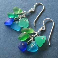 Seaglass Jewelry - blue green seaglass cluster earrings | Flickr - Photo Sharing!  Colors of sea glass I would like a necklace made out of.
