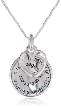 "Sterling Silver ""The Story of Friendship"" Disc and Heart Pendant Necklace, 18″: Birthday gift"