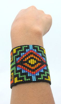 Items similar to Seed Beaded Bracelet.Unique Rainbow Bracelet woven in Loom's. on Etsy Native Beadwork, Native American Beadwork, Bead Loom Patterns, Beading Patterns, Seed Bead Bracelets, Seed Beads, Beadwork Designs, Beaded Christmas Ornaments, Beaded Crafts