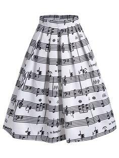 Music Notes High Waist Midi Skirt - White - L