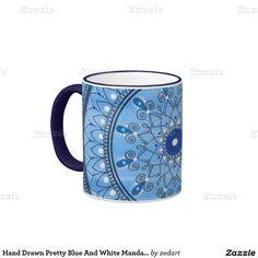 Hand Drawn Pretty Blue And White Mandala Flower Ringer Coffee Mug