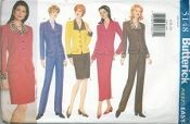 An original ca. 1997 Butterick Pattern 5148.  Misses'/Misses' Petite Jacket, Skirt & Pants - Semi-fitted, unlined, above hip jacket has collar, shoulder pads, princess seams, flaps and long sleeves.  A, B: cuffs.  A: contrast collar and cuffs.  Semi-fitted skirt, above mid-knee or above ankle or tapered pants have waistband and back zipper.  D: straight.  E: slightly tapered.  D,E: back slit. F: front pleats and side pockets.  Purchased top.