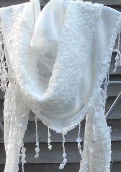 Festival Shawl,White Lace Scarf,Triangle Shawl,Bridal Scarf, White Fashion Scarf,Wedding Shawl,Mother of the Bride Shawl