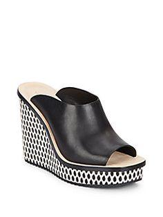 Ingrid Patterned Wedge Leather Mule Sandals