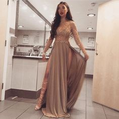 Long Sleeves Sparkly Stunning High Neck Split Sexy Cheap Modest Prom D – SposaBridal Sparkly Prom Dresses, Prom Dresses Long With Sleeves, Prom Party Dresses, Evening Dresses, Dress Prom, Long Ball Dresses, Stunning Prom Dresses, Dress Long, Long Sleeve Formal Dress