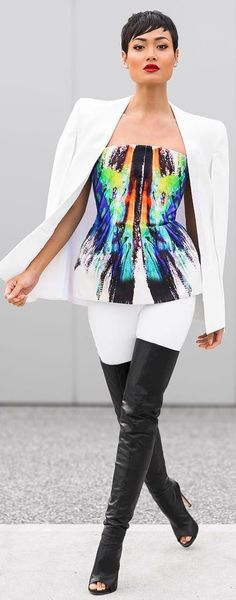 Monochrome + Multicolored Chic Style Outfit Idea by Micah Gianneli- LOVE this model!!!!