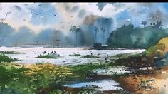 Watercolor painting - speed painting of cloud and birds in a landscape by Prashant Sarkar. Learn Watercolor Painting, Watercolor Tips, Watercolor Landscape Paintings, Watercolor Techniques, Speed Paint, Plein Air, Art Lessons, Clouds, Drawings
