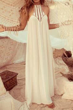 White Hollow Spliced Sleeveless Maxi Dress