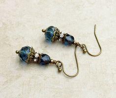 Blue Earrings Victorian Earrings Dainty Earrings by SmockandStone
