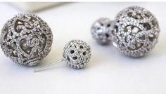 Couture Pave' Double Ball Stud Earrings