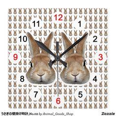 うさぎの壁掛け時計,No.02 クロック