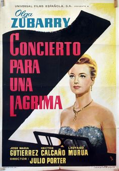 CONCIERTO PARA UNA LÁGRIMA. OLGA ZUBARRY-JULIO PORTER. CARTEL ORIGINAL 1960. 70X100 - Foto 1