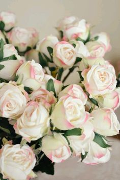 White roses with pink all in one.