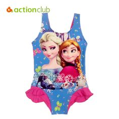 Actionclub Character Kids Swimming One Pieces Baby Girls Bathing Suit Children 2016 Summer Swimsuit…
