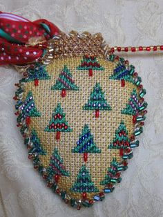 Needle House - trees - christmas light shape ornament Burnett & Bradley (formerly ACOD) canvas Embroidered Christmas Ornaments, Cross Stitch Christmas Ornaments, Xmas Cross Stitch, Beaded Cross Stitch, Xmas Ornaments, Christmas Cross, Needlepoint Designs, Needlepoint Stitches, Needlepoint Kits