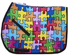 Huge Puzzle Pieces Fleece Close Contact General Purpose English Saddle Pad $36.95. Many more unique saddle pads to choose from. Visit us at  www.equestrianhomeaccessories.com