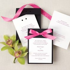 love the invitation---just maybe a deep purple or navy blue and not in a bow--- just the ribbon run through the holes