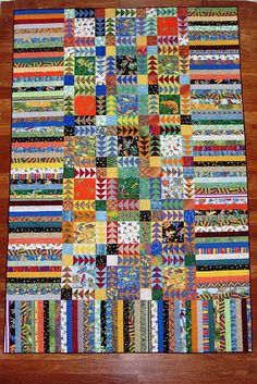 Cheeky Cognoscenti: Anders' Froggy Quilt of Many Colors. Flying Geese, strippy borders on 3 sides