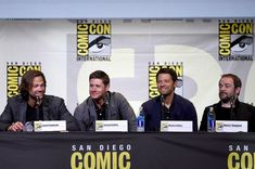 """Jensen Ackles and Misha Collins Photos Photos - (L-R) Actors Jared Padalecki, Jensen Ackles, Misha Collins, and Mark Sheppard attend the """"Supernatural"""" Special Video Presentation And Q&A during Comic-Con International 2016 at San Diego Convention Center on July 24, 2016 in San Diego, California. - Comic-Con International 2016 - 'Supernatural' Special Video Presentation and Q&A"""