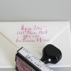 return address stamp with hand done calligraphy by Asmodel
