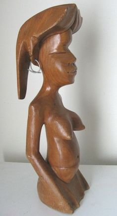 "African Folk Art Naked Woman Wood Carving Pitcher Design Nude Girl 15"" Large"