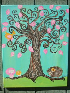Whimsical Woodland Tree Painting with Hedgehog by HeideFolkArt