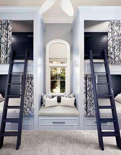 Built in window seat between bunk beds