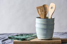 New Ideas For Kitchen Utensils Holder Sinks Ceramic Utensil Holder, Kitchen Utensil Holder, Kitchen Utensils, Kitchen Storage, Light Blue Kitchens, Cool Kitchens, Martha Stewart, Pots, Buffet