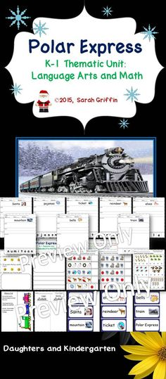 A kindergarten -1st grade printable thematic unit for The Polar Express. Reading, writing, and math lessons included. #polarexpress #ELA #math