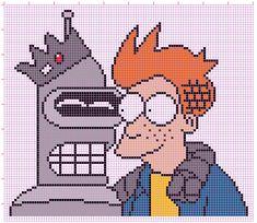 Bender & Fry in Riverdale- Futurama pattern by NurseTab on DeviantArt