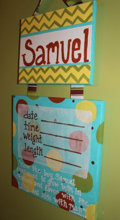 Hand Painted Canvas Birth Announcement/ by gloriartbybrooke,