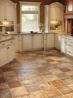 best floors for kitchens in nice tile motif combined with white wooden kitchen cabinets and granite countertops plus window with blinds
