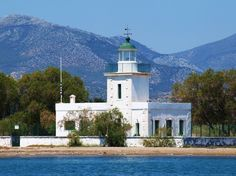 Lighthouse at Avlida in gulf of Evia Greece. Was builted on 1880 by the French Lighthouse Company.