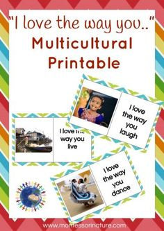 Multicultural Cards by Montessori Nature Diversity Activities, Montessori Activities, Hands On Activities, Preschool Activities, Montessori Homeschool, Montessori Classroom, Everyday Activities, Kindergarten Classroom, Homeschooling
