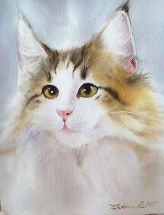 Watercolor Art Landscape, Watercolor Print, Watercolor Paintings, Cat Sketch, Cat Face, Sketches, Drawings, Illustration, Artwork