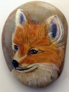Fox Rock Art by RiverRockCritters on Etsy Rock Painting Patterns, Rock Painting Ideas Easy, Rock Painting Designs, Pebble Painting, Pebble Art, Stone Painting, Painted River Rocks, Hand Painted Rocks, Painted Pebbles