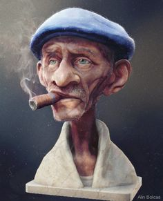 Quick character creation challenge from a concept art. Old Man Cartoon, Cartoon Faces, Cartoon Styles, Cartoon Drawings, 3d Model Character, Character Art, Character Creation, Character Concept, Man Illustration