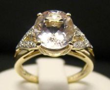 SOLID 14K YELLOW GOLD 2.00 CT MORGANITE RING DIAMOND OVAL SIZE 6.5 LIGHT PINK 3g