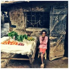 Vegetable stand in Kibera, a slum in Nairobi, Kenya.