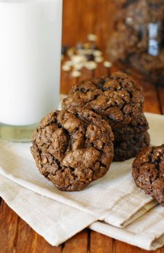 Triple Chocolate Oatmeal Cookies ... with three types of chocolate, these are a chocolate lovers dream!  www.thekitchenismyplayground.com