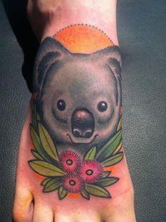 koala tattoo - done by annie frenzel Foot Tattoos, Body Art Tattoos, Koala Tattoo, Different Styles Of Tattoos, Australian Tattoo, Bird Tattoos For Women, Mary Tattoo, The Wombats, Sweet Tattoos