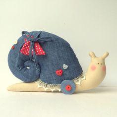 Snail Toy denim toy stuffed Snail. Cute toy by CherryGardenDolls #handmadedoll