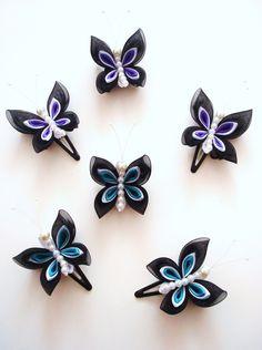 Schmetterlings-Haarclips Kanzashi