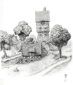 The edge of Wodesmehn Towne by SirInkman on DeviantArt